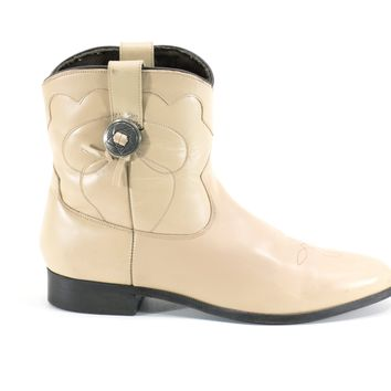 Short Cowboy Boots Tan Cream Ankle Boots Flat Vintage Western Boots Rocker Booties Size 8