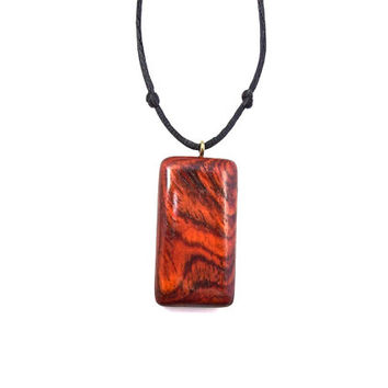 Wood Jewelry, Wooden Pendant Necklace, Rectangular Pendant, Wood Carved Pendant, Hand Carved Wood Jewelry, Wood Necklace, Men's Jewelry