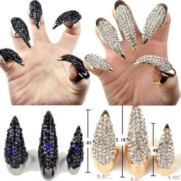 ICIKIX3 Gothic Punk Cool Rock Eagle Claw Crystal Rhinestones Finger Nail Hook Ring = 1929638916