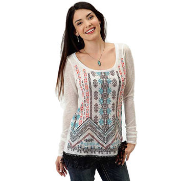 Roper Womens White Long Sleeve Embroidered Aztec Print Sheer Tunic