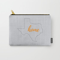 Accessory Bag, Texas State Pride, Texas Outline, Texas Home, Make Up Bag, Small Clutch, Large Pouch, Purse Organizer, Grey and Orange