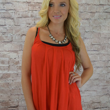 Button Back Flowing Tank - Red