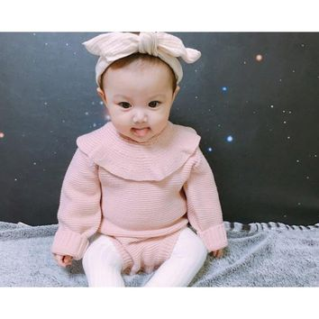 MYUDI - Baby Sweater Winter Girl Lotus Collar Warm Knitted Pullover Children Sweater Romper One Piece Toddler Clothing