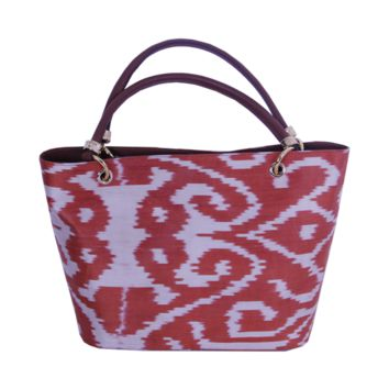 Ikat Tote Bag - Red Lady Bag with Gold Accessories