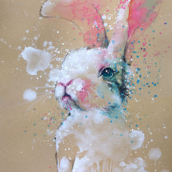 Bunny • watercolor with pencil painting • A4 • A3 • art print