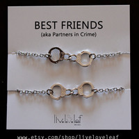 Best Friends matching Rhodium plated Handcuffs Bracelets - Silver Handcuffs handcuff charm bracelet,  BFF jewelry Christmas stocking stuffer