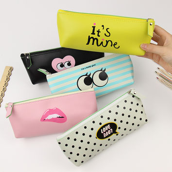 1 pcs Creative Pencil Case PU Leather School Supplies Stationery Gift Cute Modern Girl Pencil Box Pencilcase