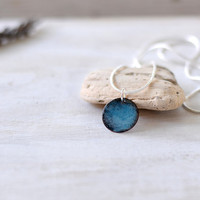 Blue enamel pendant - small dainty necklace - sky blue and black copper and sterling silver - artisan jewelry by Alery