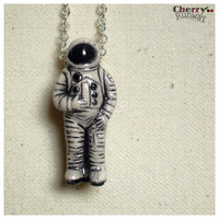 "Astronaut clay charm, Space Man, Galaxy, 20 inch silver necklace, ""Mission Possible""."