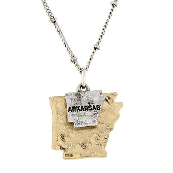 Arkansas State Theme Two-Tone Map Casting Charm Necklace