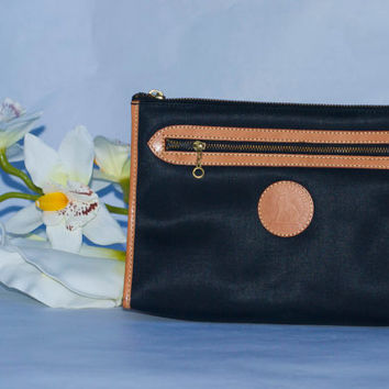 Vintage François  Marot Paris Black Leather Clutch/Travel Toiletry Handcrafted in France Unisex.