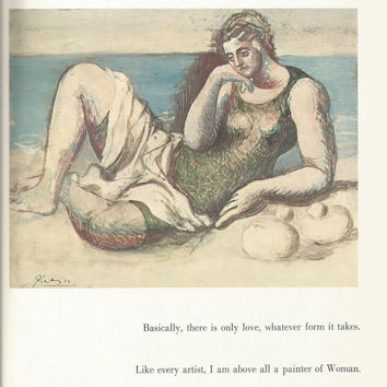 "Pablo Picasso 1972 Vintage Lithograph Signed on the Plate Entitled ""Baigneuse au bord de la mer"", c. 1919 - From Sari Heller Gallery"