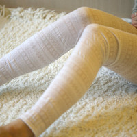 Snow white cotton lace leggings