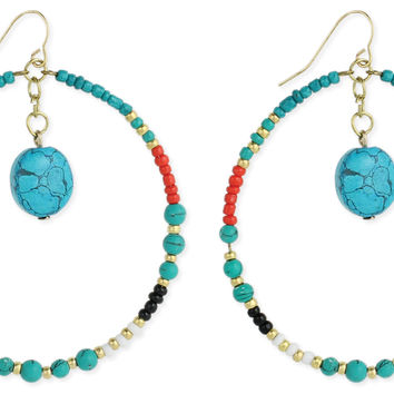 Beaded Round & Turquoise Drop Earring