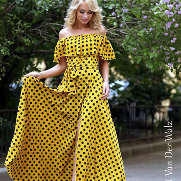 Polka dot dress. Yellow Summer dress.Maxi dress. 100% Viscose  /  High Quality Designer summer dress. Prom dresses, Plus size, off shoulder