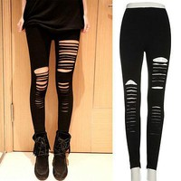 Goth Punk Slashed Ripped Cut Out Slit Stretch Pants