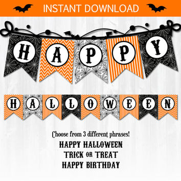 Halloween Party Banner, Halloween Banner, Halloween Party Supplies, Halloween Decor - INSTANT DOWNLOAD! Includes EDITABLE file!