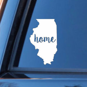 Illinois Home Decal | Illinios State Decal | Homestate Decals | Love Sticker | Love Decal  | Car Decal | Car Stickers | Bumper | 105