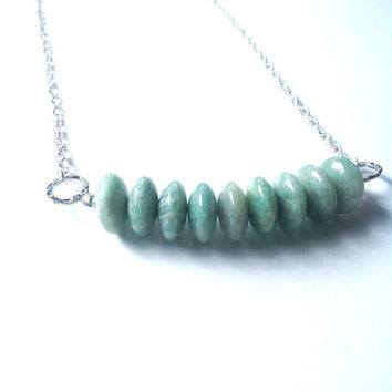 Long Bohemian Amazonite Silver Necklace