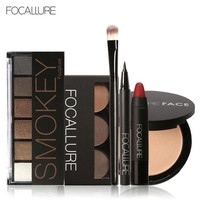 DCCKL6D Focallure Makeup Set with 6colors/palette Eyeshadow Eyebrow Eyeliner Face Powder Matte Lipstick in one Makeup Kit