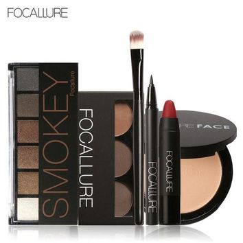 LMF57D Focallure Makeup Set with 6colors/palette Eyeshadow Eyebrow Eyeliner Face Powder Matte Lipstick in one Makeup Kit