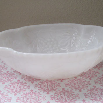 Vintage/Opaque White Milk Glass/Pedestal Vase/Bowl/Grape Pattern/1950's/Mid-Century/Home Decor/Kitchen