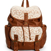 Trillium Kara Crochet & Faux Leather Rucksack Backpack