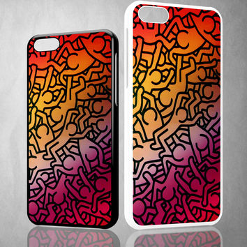 Keith Haring Colors Go Back Z1290 iPhone 4S 5S 5C 6 6Plus, iPod 4 5, LG G2 G3 Nexus 4 5, Sony Z2 Case