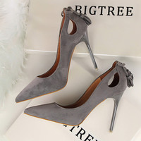 2016 New Pumps Thin Sexy High-heeled Shoes Pointed Suede Hollow-out Bowknot Tassel OL Office Elegant  Women's Shoes G3168-9