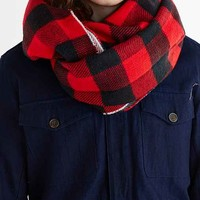 Reversible Plaid On Plaid Eternity Scarf- Red One