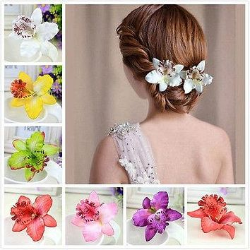 Wedding Orchid Flower Hair Clip For Bride