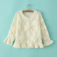 Dimensional Roses Embroidered Circular Flounce Sleeve Ruffled Bottom Sweater