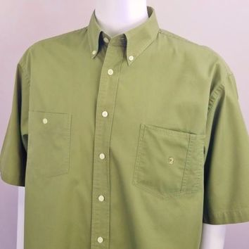 Duck Head Olive Green Shirt Mens Sz XL Button Down Short Sleeve Cotton