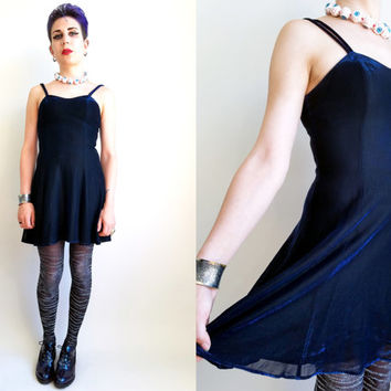 90s Clothes / Vintage 1990s Shine Dress Iridescent Blue Black Dress Shiny Dress Sparkly Dress Witchy Goth Dress Grunge Dress Size Small