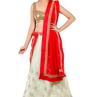 Ivory and Red Lehenga Set with Golden Embellished Border