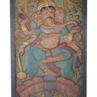 VINTAGE Indian HandCarved Ganesha Door Panel Wall Sculpture Home Decor Wall Art