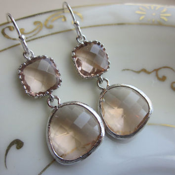 Champagne Peach Earrings Pink Silver Two Tier - Bridesmaid Earrings - Wedding Earrings - Valentines Day Gift