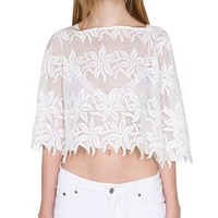 MapleClan See-through Embroidered Daisy Crop Top Hollowed Floral Lace Blouse