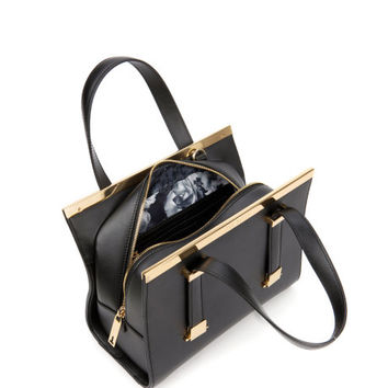 Leather metal bar tote bag - Black | Bags | Ted Baker UK