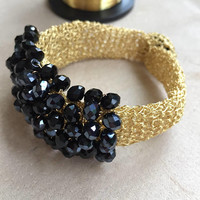 Wire crochet bracelet/ black crystals bracelet/ wire crochet/ bracelet-gold crochet/ elegant bracelet/ gold filled wire. mother's day gift