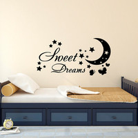 Sweet Dreams Wall Decals Nursery Butterfly Decal Stars Vinyl Sticker Moon Home Decor Nursery Bedroom Art T189