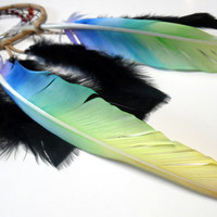 Chakra Crystals Dream Catcher with Hand Painted Rainbow Feathers