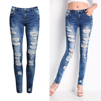 Autumn Slim Ripped Holes Pencil Pants Denim Jeans [11597542031]