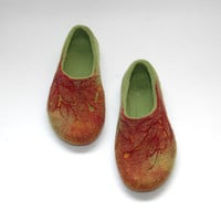 Hand felted slippers Autumn Fire natural red orange green