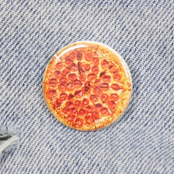 Pepperoni Pizza 1.25 Inch Pin Back Button Badge