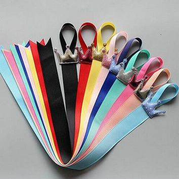 Rainbow colors Toddlers hair clip storage tape Assorted CROWN  ribbon Hairpins Holder Kids hair accessories holding band OR5