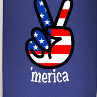 Custom coozies, merica, fourth of july coozies, party coozies, america, patriotic coozie, peace coozie, red white and blue, the coozie shop