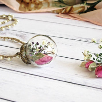 Glass Ball Necklace Rose Pendant Terrarium Flower Locket Necklace Real Rose Necklace Dried Rose Bud Real Flower Jewelry Bridesmaid Gift