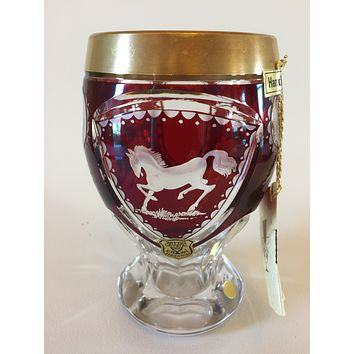 844024 Ruby over Crystal Friendship Cup with Horse walking & gold rim & Hand Cut Base & top, Gold Rim