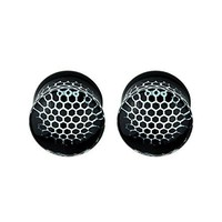 BodyJ4You Plugs Glass Saddle Black Honeycomb Earrings Stretching Set 00G 10mm Body Piercing Jewelry